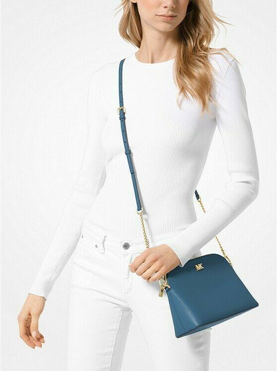 Michael Kors Mott Cindy Large Zip Dome Crossbody Bag Crossgrain Leather Chambray image 3