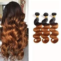 Ombre Bundles Two Tone Body Wave Virgin Hair 3 Bundles Remy Brazilian Hu... - $65.38
