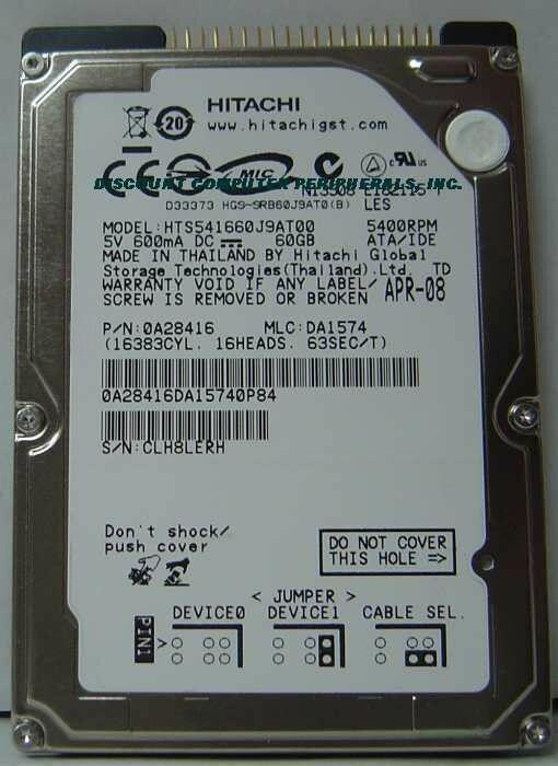 """NEW HTS541660J9AT00 60GB IDE 44PIN 2.5"""" 9.5MM Hard Drive Hitachi Free USA Ship"""