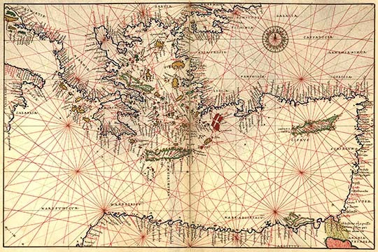 Portolan or Navigational Map of Greece, the Mediterranean and the Levant by Batt - $19.99 - $179.99