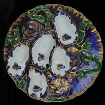 Rare Antique Haviland Limoges France Turkey Oyster Plate Purple Blue Green 1876 - $683.99