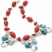 Fashion crystal, faux turquoise and faux coral stone bead choker necklace - $15.78