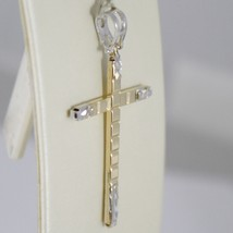 18K WHITE AND YELLOW GOLD CROSS STYLIZED VERY LUSTER MADE IN ITALY 1.65 INCHES image 2