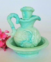 "Vintage 1970's AVON ""Victorian Rose ""Jadeite Green Pitcher with Bowl - $15.00"