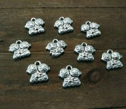 9 Zodiac Charms Antiqued Silver Gemini Pendants Twins 13mm - $2.85
