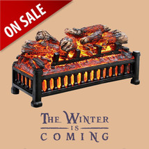 Electric Fireplace Logs Insert Wood Crackling Glowing Realistic Flame He... - $67.35