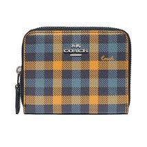 NWT COACH Small Double Zip Card Wallet Canvas Gingham Checker Navy Green F76753 - $71.28
