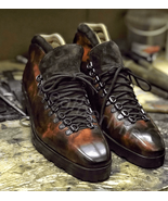 Men's handmade brown patina ankle boots, dress boots for men in patina f... - $217.79