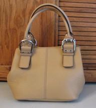 Tignanello PURSE Bone / Tan Genuine Leather Handbag Satchel Excellent - $22.67