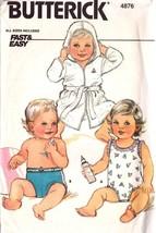 UNCUT Vintage BUTTERICK 4876 - Infant's Robe, Belt & Swimsuit - All Sizes - $10.99