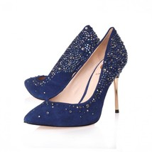 NEW VINCE CAMUTO WOMEN'S VI-PAOLA TWILIGHT BLUE SUEDE STUDS PUMPS HEELS SHOES