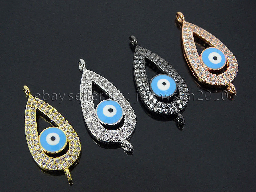 Primary image for Zircon Gemstones Pave Teardrop Blue Lucky Eye Bracelet Connector Charm Beads