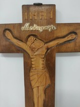 Wall Hanging Cross Crucifix Made Of Wood from Medjugorje 10'' INRI 11Hx7L - $25.18
