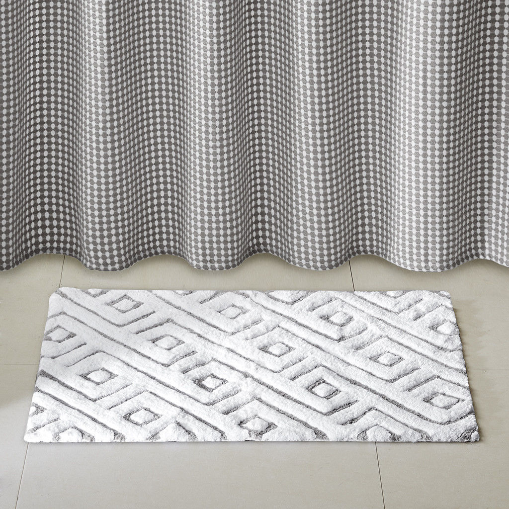 Spa Collection Plush Cotton Tufted Modern Geometric Gray