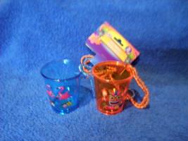 LUAU SHOT GLASS NECKLACES SET OF 2 BLUE AND ORANGE HARD PLASTIC NEW - $5.86