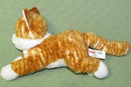 "14"" Aurora ORANGE TABBY CAT Striped Plush Stuffed Kitten White Laying DOwn 2014 - $24.75"