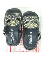 Barbee Black Kids Sandals Size 20 6-8M Gold Embroidered Silver Buckles - $18.74