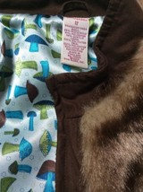 Girls 12 Faux Fur Vest Cocoa Brown Teddy Bear Satin Mushrooms Lining Gymboree - $24.05