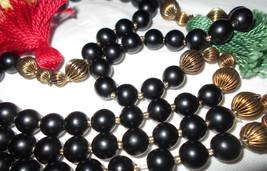 Vintage necklace black onyx and brass beaded strand 1970s hippie jewelry... - $95.00