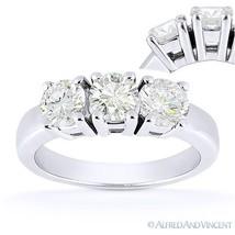 Forever Brilliant Round Cut Moissanite 3-Stone Engagement Ring in 14k White Gold - €732,23 EUR - €2.064,93 EUR