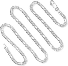 925 Sterling Silver 3MM Figaro Chain - Italian Necklace for Men and Women - Lobs - $91.58
