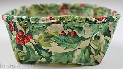Primary image for Longaberger Tarragon Basket Liner American Holly Fabric Home Decor Collectible