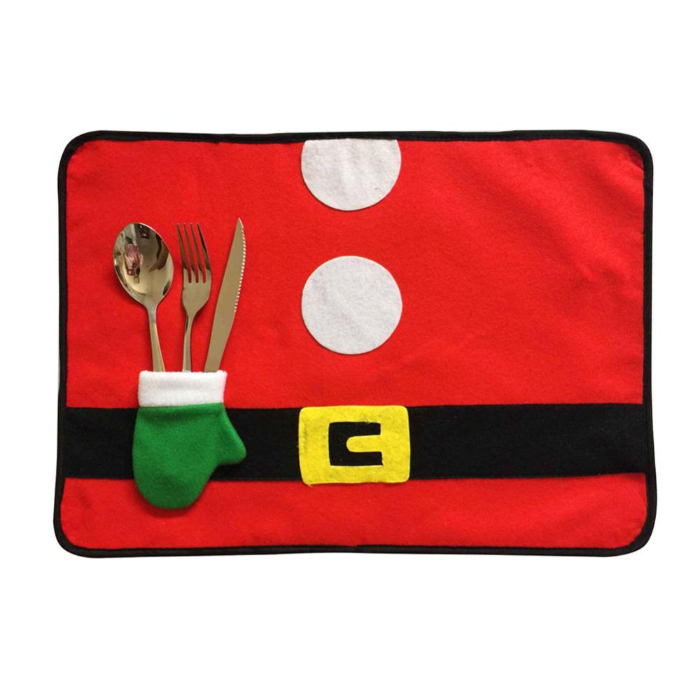 (02)Christmas Table Mats Fork Sets of Dual-use Non-woven Fabric Table Mats Chris