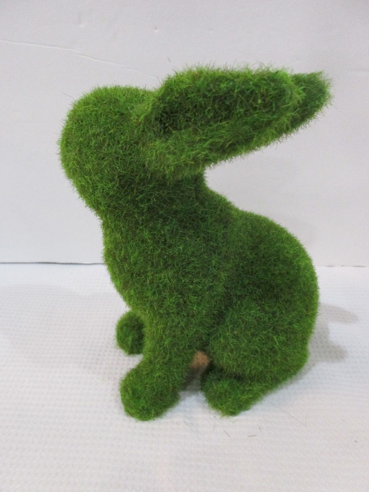 """GREEN FAUX MOSS EASTER SPRING BUNNY RABBIT FIGURE STATUE 6"""" DECOR NEW"""
