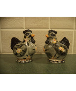 SALE black, yellow, gray chicken salt and pepper shakers, vintage - $14.50