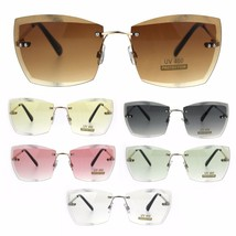 Squared Beveled Lens Womens Large Rimless Cat Eye Fashion Sunglasses - $13.95