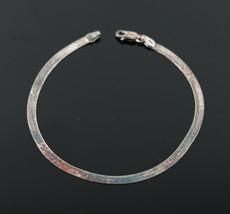 Vintage .925 Sterling Silver Signed CA Herringbone Simple Tennis Bracele... - $13.49