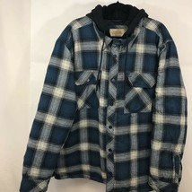 Boston Traders Mens Shirt Jacket Blue Plaid Hooded Flap Pockets Quilt Li... - $17.81