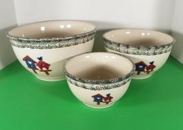 Gibson Bird House Stoneware Mixing Bowl (S) Set Of 3 Euc In Box Birdhouse - $43.51