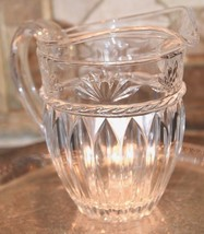 """Heavy Clear Crystal Serving Water Lemonade Pitcher Excellent Condition 8.25"""" H - $89.99"""