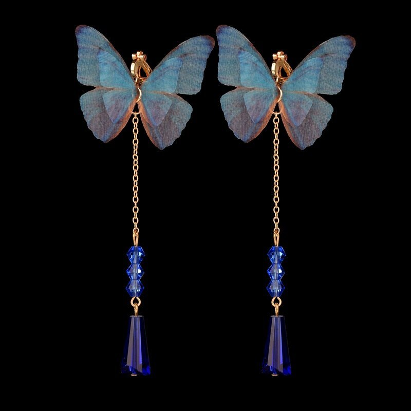 BAHYHAQ -Summer Style Blue Simulation Butterfly Drop Long Earrings Jewelry