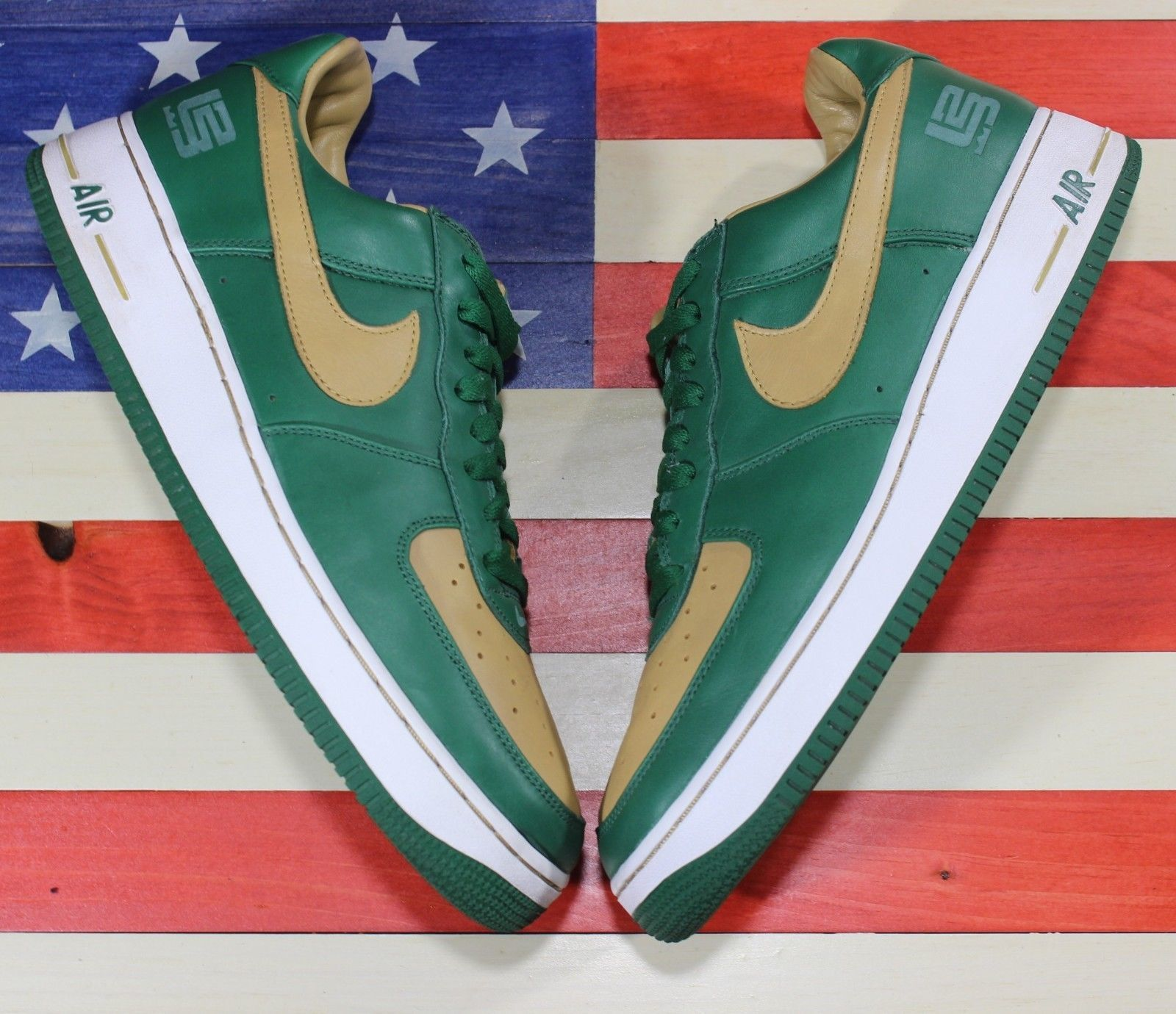 on sale b097f 5e4c5 Nike AIR FORCE 1 Leather PREMIUM Lebron Green Gold SVSM Shoes 309063-371