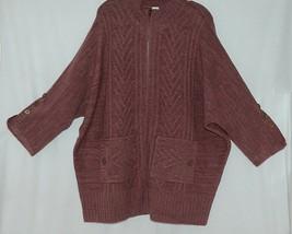 Simply Noelle Brand JCKT222Z Womens Mauve Zippered Sweater Jacket Size XXL image 1