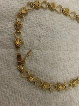 "Real Genuine 14K Solid Yellow Gold 7"" Diamond Cut Heart Link Bracelet 5.3G image 3"