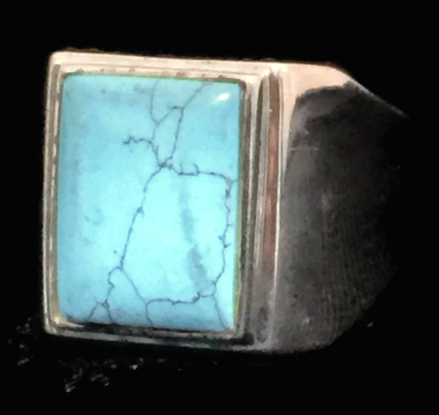 Vintage Turquoise Sterling Silver Southwest Mens Ring size 11