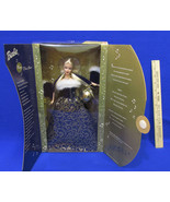 New 2001 New Year Barbie Doll Royal Blue Dress w/ White Fur & Musical Or... - $14.84