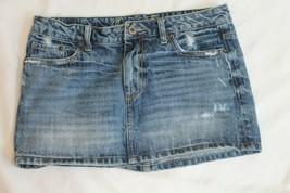 American Eagle DENIM vintage blue destroyed frayed classic mini jean SKIRT 6 - $14.85