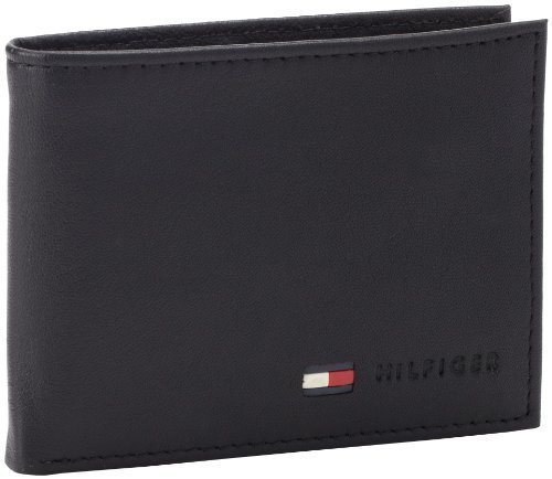 Tommy Hilfiger Men's Leather Multi-Card Bifold Wallet, Black, One Size