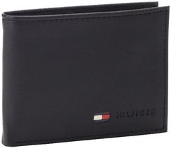 Tommy Hilfiger Men's Leather Multi-Card Bifold Wallet, Black, One Size