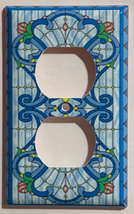 Stained blue glass art Light Switch Outlet Wall Cover Plate Home Decor image 3