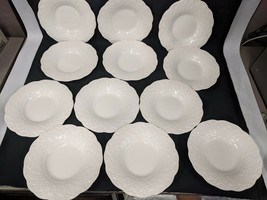 VINTAGE LOT OF 12 WEDGWOOD CHINA WHITE EMBOSSED LATTICE BREAD BUTTER SAL... - $96.22