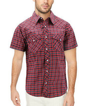 Men's Western Pearl Snap Button Down Short Sleeve Plaid Cowboy Dress Shirt - L