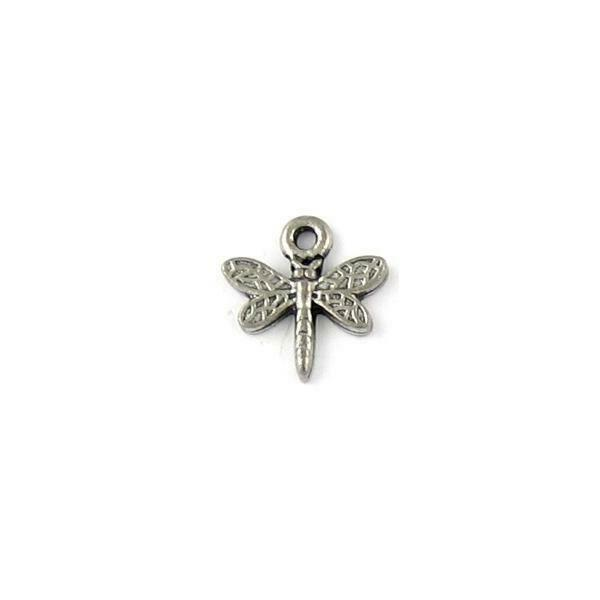 DRAGONFLY FINE PEWTER PENDANT CHARM - 13.5mm L x 13.5mm W x 2mm D
