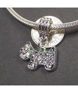 White Clear Terrier Dog Crystal Dangle Slider Bead for European Charm Br... - $8.99