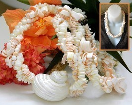 Vintage Seashell Necklace Sliced Sea Shell Chunky Cream Handmade Lei - $23.95