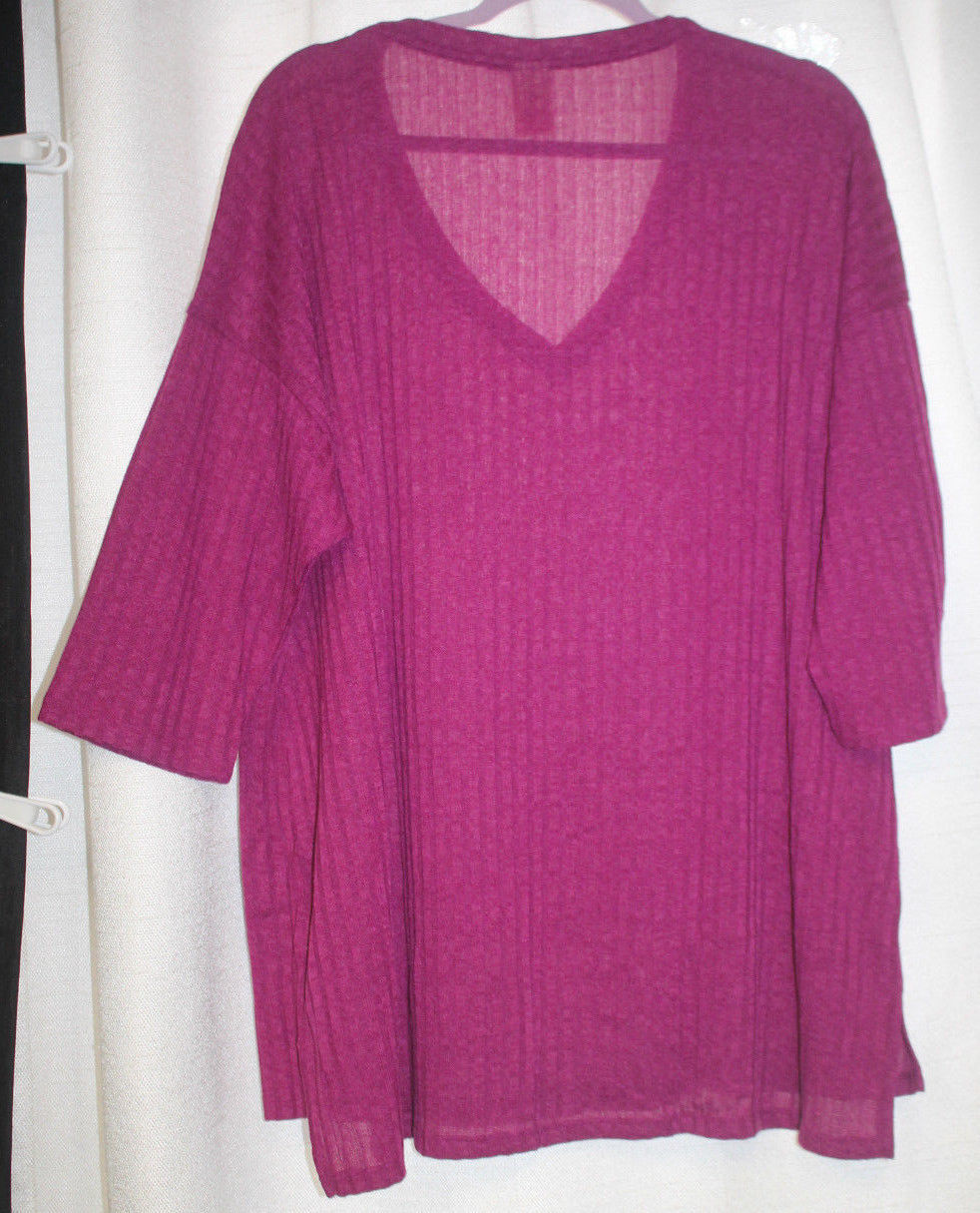 NEW WOMENS PLUS SIZE 2X FADED GLORY BERRY  3/4 SLEEVES HACCI SWEATER KNIT TOP